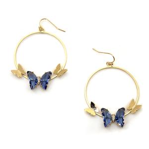 Earring 4027a 84 Avant hoop dangle butterfly gem earrings blue
