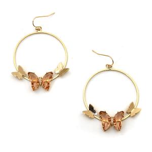 Earring 3593b 84 Avant hoop dangle butterfly gem earrings bpink