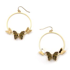 Earring 4021a 84 Avant hoop dangle butterfly gem earrings brown