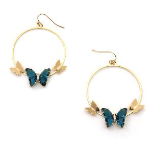 Earring 3318d 84 Avant hoop dangle butterfly gem earrings teal
