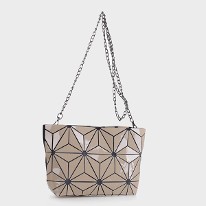 Isabelle 87480A geometric crossbody clutch almond