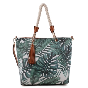 Isabelle 87610 fashion tote forest leaves green brown