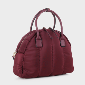 Isabelle 87819 quilted nylon satchel wine red
