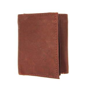Simple trifold wallet A52 red brown