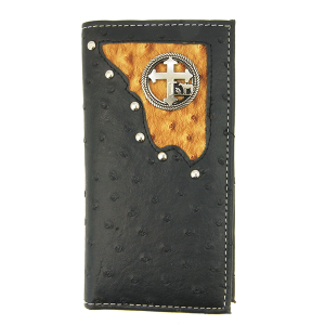 Simple large western ostrich bifold wallet cowboy cross C307C8 black