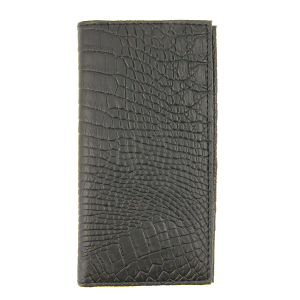Simple large western croc bifold wallet C307 black