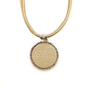 Necklace 133 99 Empire choker fringe leather circle rhinestones gold