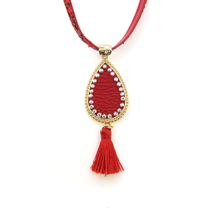 Necklace 1906 99 Empire leather sequin glitter tear drop rhinestone tassel red