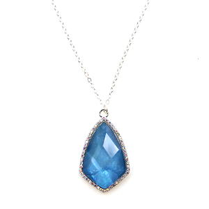 Necklace 895a 99 Empire rhinestone tear drop sharp gem blue