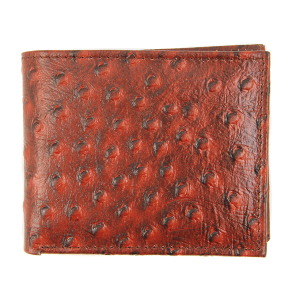 Simple bifold wallet embossed ostrich red