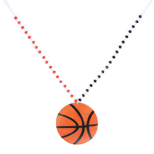 (Necklace 135n 99 Empire) Leather basketball orange red black