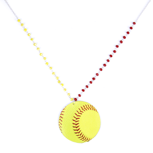 (Necklace 137d 99 Empire) Leather softball yellow red