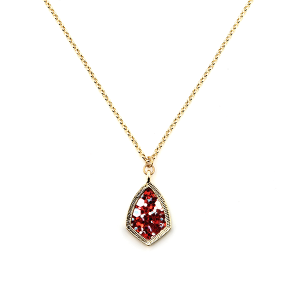 Necklace 1834a 99 Empire sharp tear drop small gold red multi