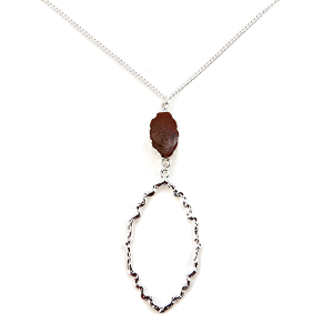 Necklace 1034b 99 Empire hoop geometric drop stone burgundy silver