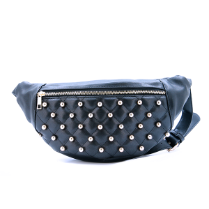 Fanny Pack Quilted Bead Leather Black
