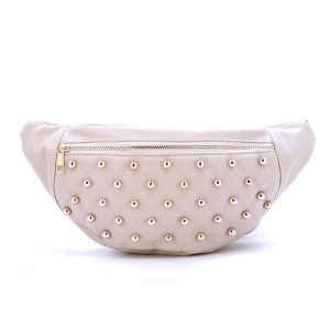 Fanny Pack Quilted Bead Leather Taupe