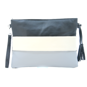 Three tone crossover bag / pouch gray black ivory