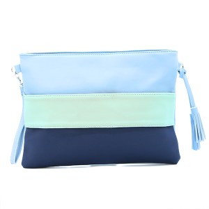 Three tone crossover bag / pouch blue mint aqua