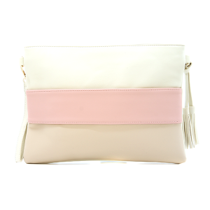 Three tone crossover bag / pouch brown tan pink ivory