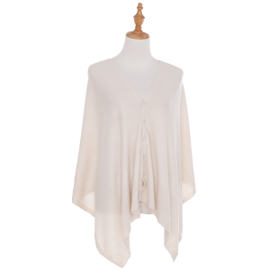 Shawl 441c 78 A&O soft knitted button beige