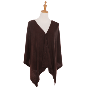Shawl 482d 78 A&O soft knitted button brown