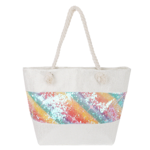 Odiva AO858 zipper beach tote sequin multi