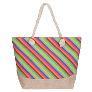 Odiva AO881 zipper beach tote stripe multi color