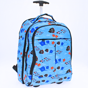 luggage 6018 rolling computer backpack fish light blue