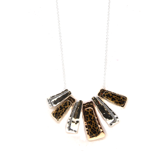 Necklace 2152A 40 Icon Collection leopard metal marble accent necklace multi