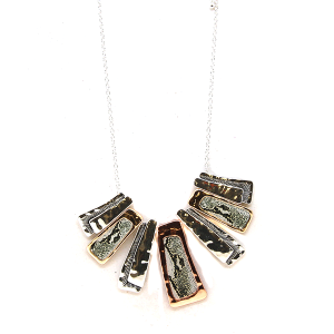 Necklace 015H 40 Icon Collection snake pattern metal marble accent necklace multi
