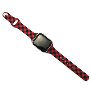 Watch Band 022d 08 buffalo plaid thin strap red
