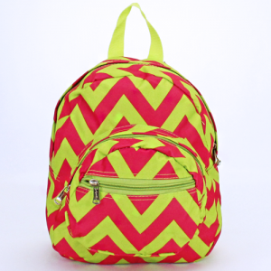 Luggage B5 601 AK mini backpack chevron fuchsia lime green