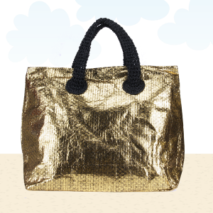 Beach Bag b562 shine black gold