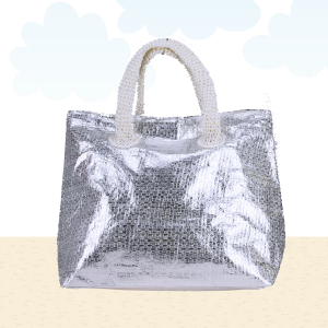 Beach Bag b562 shine white silver