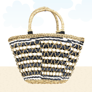 Beach Bag b800 straw weave black white