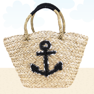 Beach Bag b803 straw anchor black