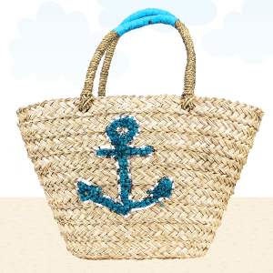 Beach Bag b803 straw anchor turquoise