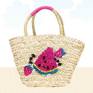 Beach Bag b804 straw watermelon fuchsia