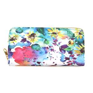Minky BA1735-3 zipper wallet flower multi