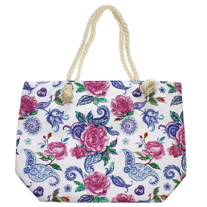 Minky BA1759 floral paisley rope tote white