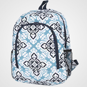 luggage 6016 backpack floral cross light blue navy trim