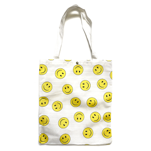 Tote Bag BG-1016 assorted smiley face white