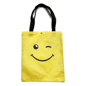 Tote Bag BG-1016 winking smiley face yellow