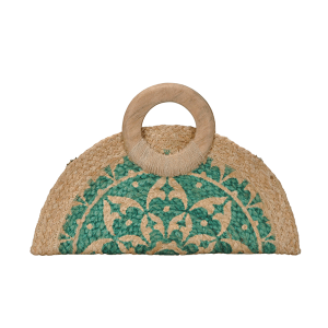 Antik Kraft BGA IN03 jute clutch geometric green
