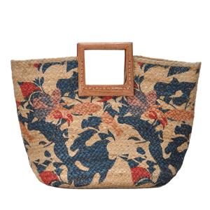 Antik Kraft BGA IN06 wooden jute satchel floral multi