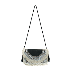 Antik Kraft BGA IN08 jute crossbody fringe black
