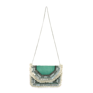 Antik Kraft BGA IN08 jute crossbody fringe teal