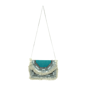 Antik Kraft BGA IN08 jute crossbody fringe turquoise