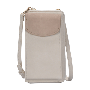 MMS BGO 85460 fashion two tone zipper wallet light taupe bone