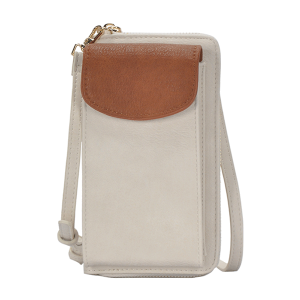 MMS BGO 85460 fashion two tone zipper wallet tan cream